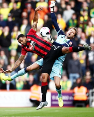 Bournemouth's Callum Wilson and Norwich City keeper Tim Krul collide as they go up for a high ball