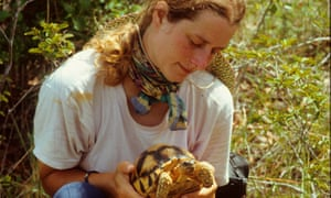 Liz Howe with an Angonoka tortoise in Madagascar.