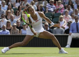 Barbora Strycova, wins the first set.