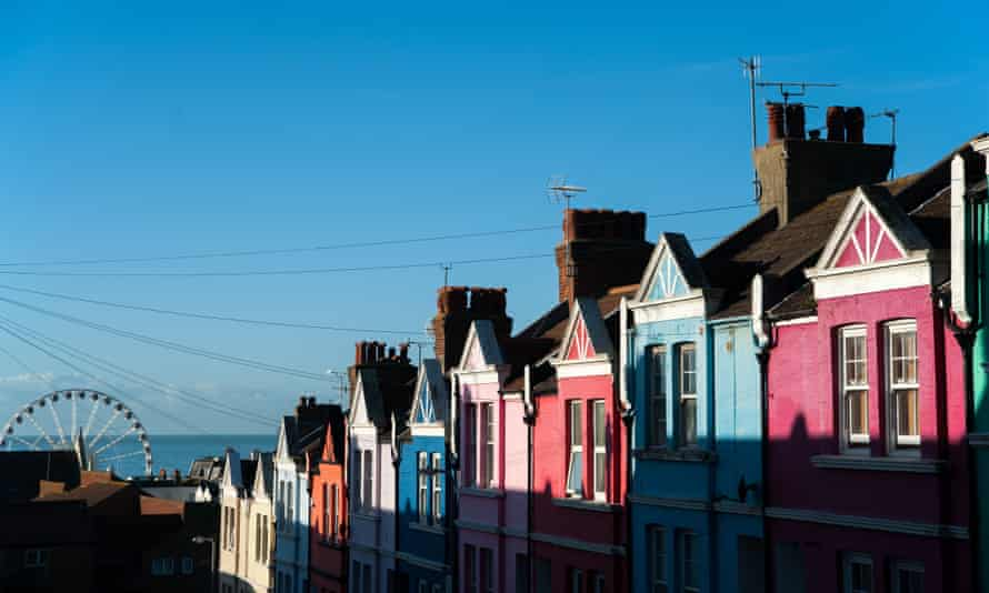 Houses in Brighton with sea behind