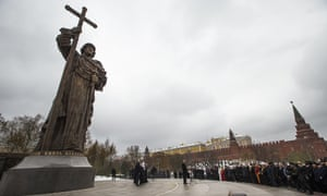 Vladimir Putin speaks at the unveiling ceremony of a monument to Vladimir the Great on the National Unity Day outside the Kremlin in Moscow,.
