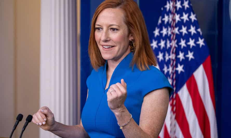 White House press secretary Jen Psaki responds to a question from the news media during the daily press briefing at the White House on 4 June.