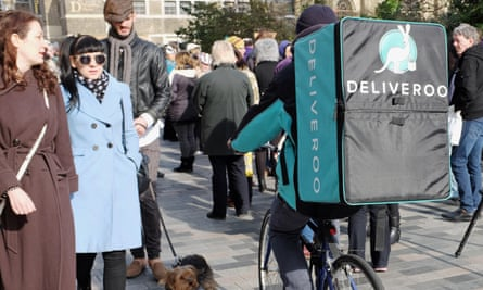 A Deliveroo courier