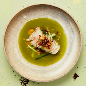 Yotam Ottolenghi's cured gurnard with camomile and cucumber water.