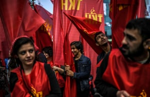 Istanbul, TurkeyMarchers carry the red flags of the Turkish Communist party