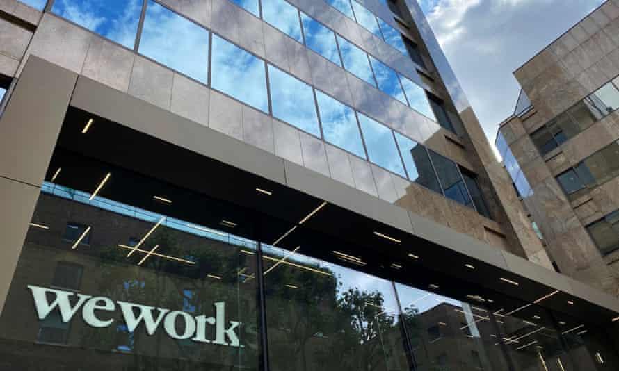 WeWork logo on window