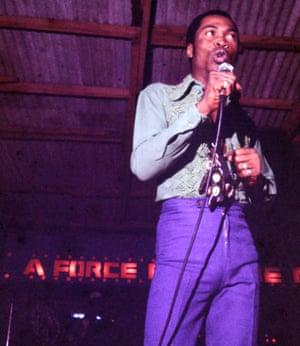 Fela Kuti performs with his band at the original Afrika Shrine.