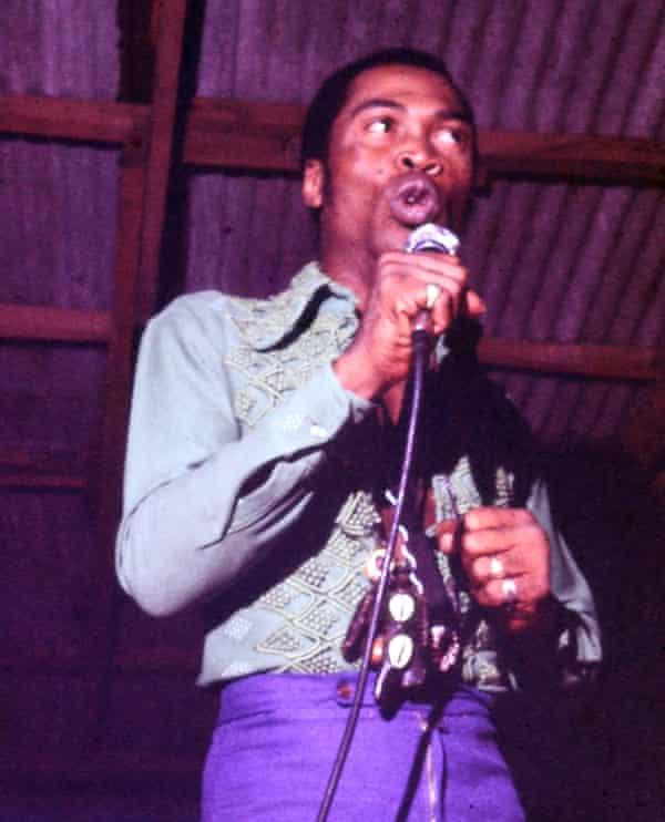 Fela Kuti performing at the Shrine in 1977.
