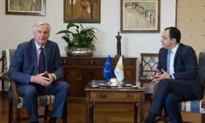 Michel Barnier (left) with the Cypriot foreign minister, Nikos Christodoulidis