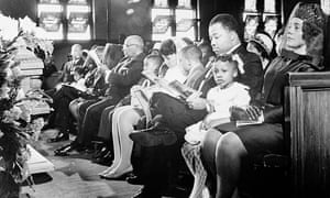 Bernice King and her family in the front row of the Ebenezer Baptist Church at the funeral of Martin Luther King in 1968.