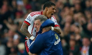 Patrick van Aanholt with Sam Allardyce after scoring against Everton last season.