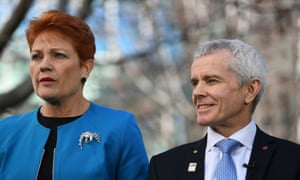One Nation leader Pauline Hanson (left) and senator Malcolm Roberts.