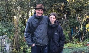 Gardener's delight: fellow allotmenteers Howard Sooley and daughter Rose.