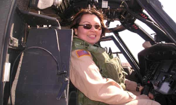 Duckworth in a helicopter in Iraq.