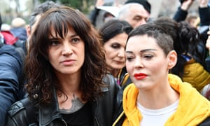 Italian actress Asia Argento, left, and US singer and actress Rose McGowan, both accused Harvey Weinstein of sexual assault.