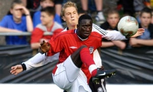 Cherno Samba playing for England Under-19s against Germany in 2003