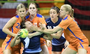 Argentina and the Netherlands battle during a group game of the women's handball