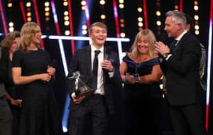 Billy Monger receives the Helen Rollason Award.