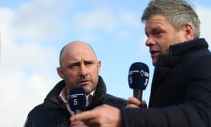 Channel 5's rugby presenters Mark Durden-Smith (right) and David Flatman at the Recreation Ground for Bath v Bristol in March.
