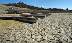 Boat docks sit on dry land in Folsom Lake reservoir, near Sacramento, during the severe 2015 drought.