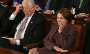 Nancy Pelosi and House Minority Whip Steny Hoyer listen to Netanyahu speaking to Congress.