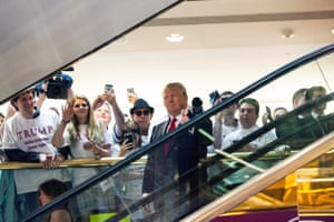 Donald Trump rides an escalator to a press event to announce his candidacy for the US presidency at Trump Tower on 16 June 2015.