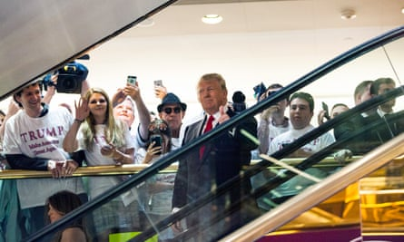 Donald Trump descends Trump Tower on an escalator to announce his candidacy for US president on 16 June 2015.