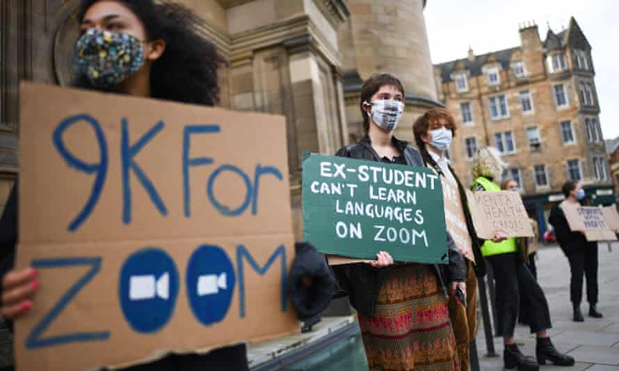 Students protesting in Edinburgh about online learning.