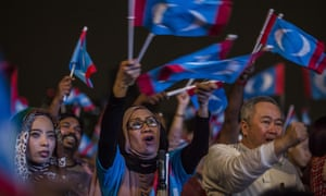 Supporters of Mahathir Mohamad attend an election campaign rally on 6 May in Kuala Lumpur, Malaysia.