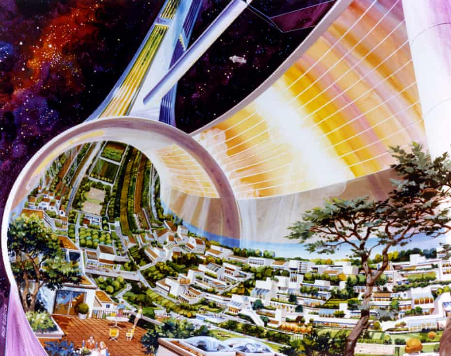 An illustration of a space colony from Last Futures