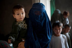 Families who have been displaced be recent fighting in Uruzgan between Afghan Government soldiers and the Taliban - Afghanistan Sunday, Sept. 25, 2016