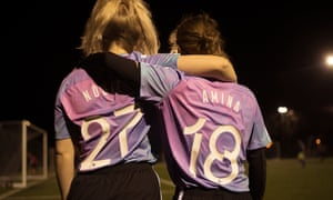 Members of Romance FC, who play at Hackney Downs in London.