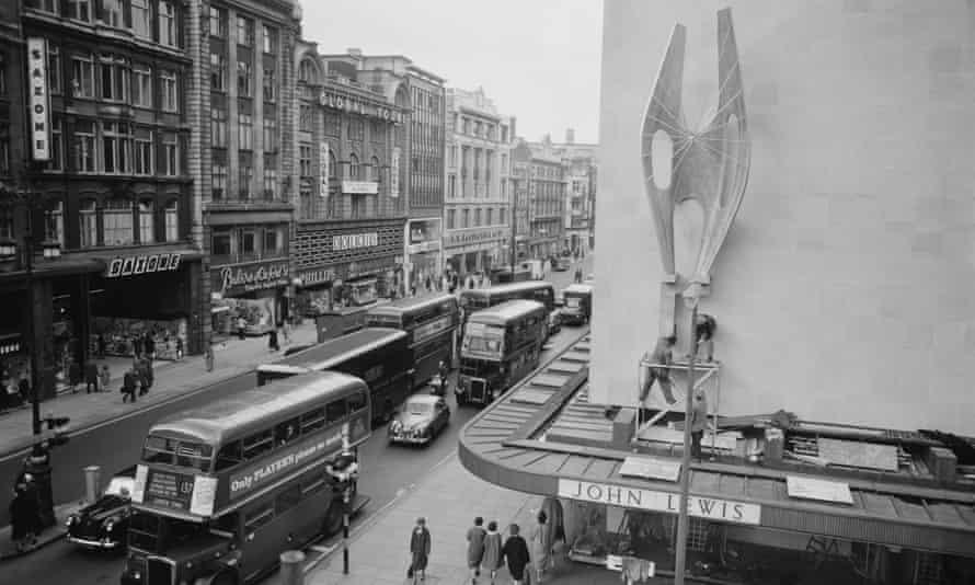 'Winged Figure' by Barbara Hepworth being installed at John Lewis in Oxford Street in April 1963.