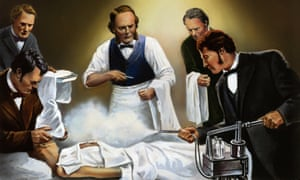 an illustration of joseph lister operating as an assistant sprays carbolic acid