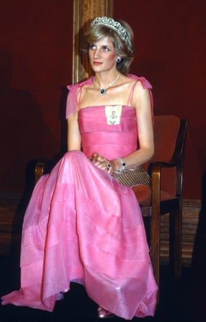 Diana, Princess of Wales, wearing a pink dress trimmed with bows, in Australia, 1983.