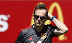 Julen Lopetegui leads a training session in Krasnodar on Tuesday before his departure was confirmed.