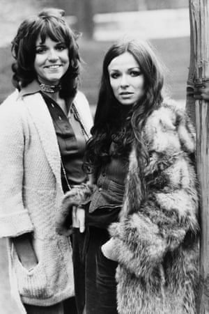 Suzan Cameron, left, and Julie Walters in 1976, getting ready to appear in Alan Dossor's production of Mike Stott's comedy Funny Peculiar at the Mermaid theatre, London.