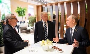 jean claude juncke speaking with donald trump and vladimir putin