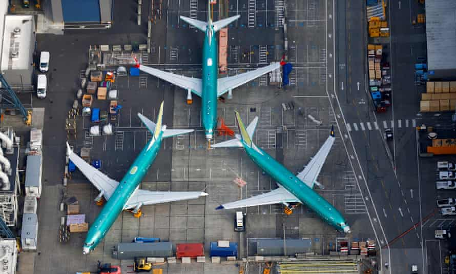 Boeing 737 Max aircraft parked on the tarmac at its factory in Renton, Washington