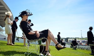 Racegoers enjoying the sun on Derby day.