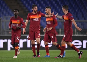 AS Roma's Bryan Cristante celebrates his strike.