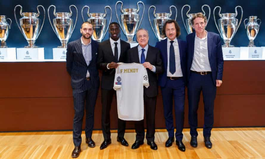 Yvan Le Mée, second right, at the presentation of Ferland Mendy by Real Madrid in 2019.