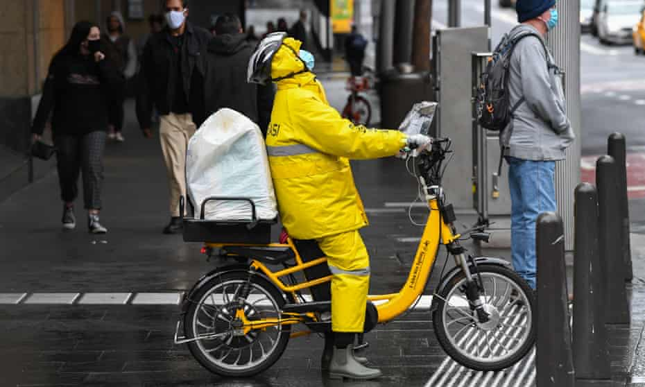 A food delivery cyclist in Sydney
