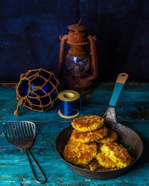 Fishcakes with turmeric, coriander and cardamom.