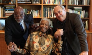 Denis Goldberg, right, with Nelson Mandela, centre, and the Namibian anti-apartheid activist Andimba Toivo in 2010.