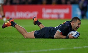 Joe Marchant of Harlequins celebrates scoring his side's second try in the win over Wasps at Twickenham.