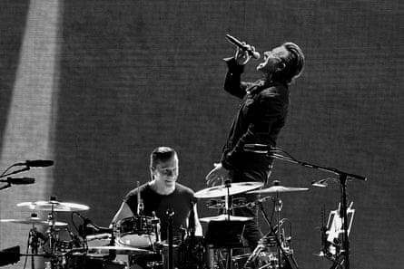 Bono and Larry Mullen Jr. performing at the MetLife Stadium last month in New Jersey, as part of their Joshua Tree tour.