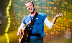 Chris Martin of Coldplay on stage at Allianz Parque in Sao Paulo, Brazil.