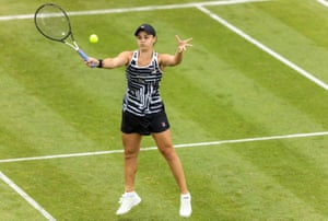Ashleigh Barty during a doubles match in Birmingham. She will play doubles at Wimbledon but declined an offer from Andy Murray to partner him in the mixed.