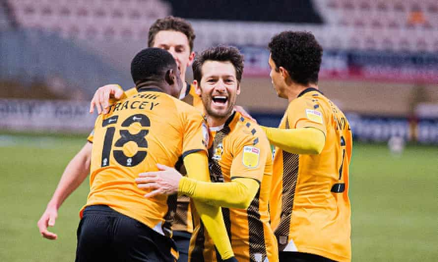 Wes Hoolahan celebrates after scoring the final goal in Cambridge's 3-1 win at home to Crawley last Saturday